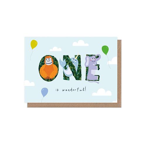 One is Wonderful 1st Birthday Age Greetings Card