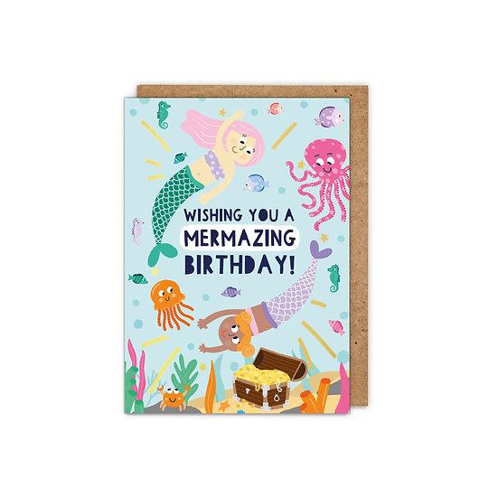 GOLD FOILED Kids:  'Wishing you a Mermazing Birthday'