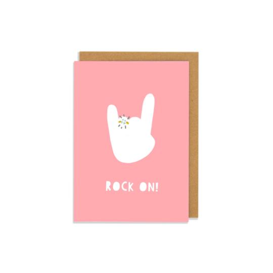 Rock On Greetings Card