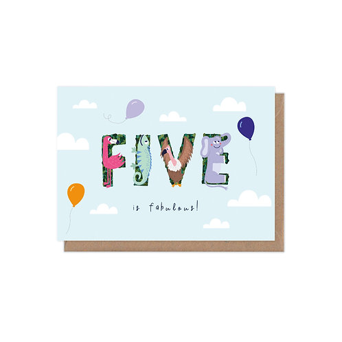 6 pack- Five is Fabulous 5th Birthday Age Greetings Card