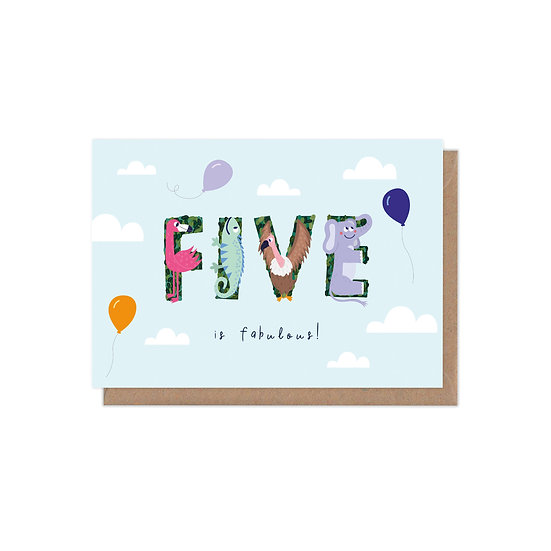 Five is Fabulous 5th Birthday Age Greetings Card