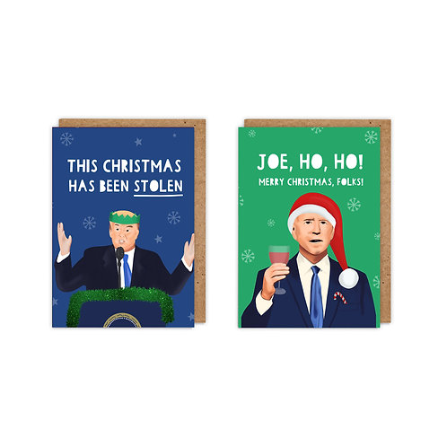 2 Pack USA Election/ COVID A6 Christmas Cards