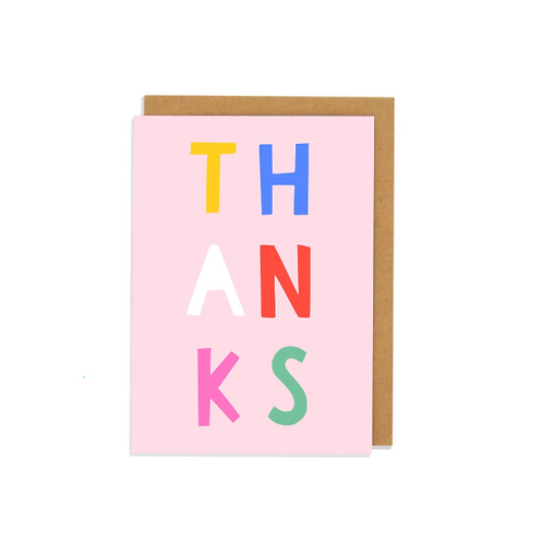 6 pack- Thanks Letters Greetings Card