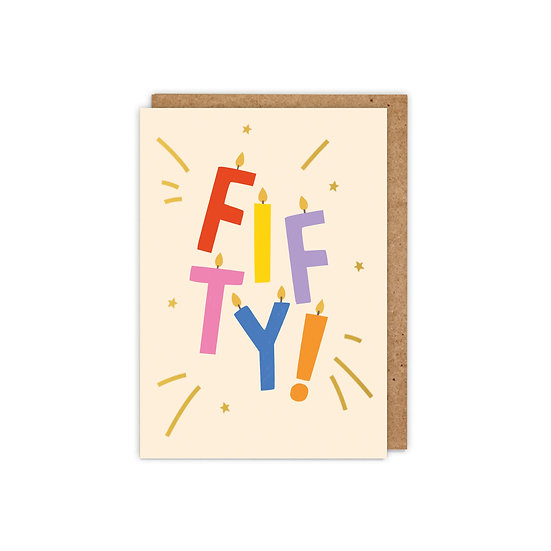 GOLD FOILED 'FIFTY!' letter candles