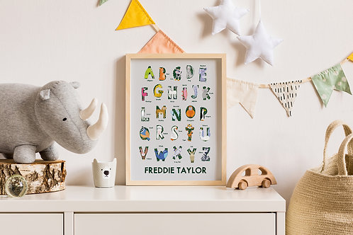 Personalised Name Animal Alphabet Children's Print