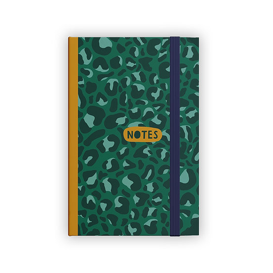 Green Leopard Print 'Notes' A5 notebook