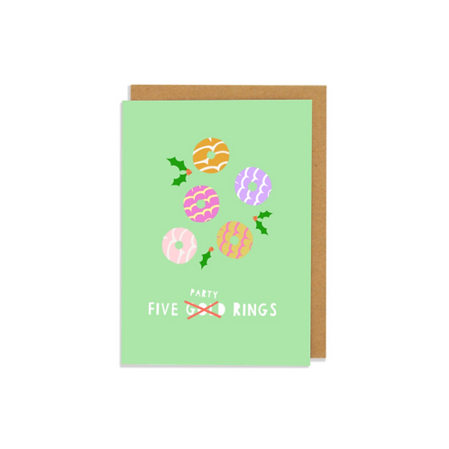 6 pack- 5 Gold (party) Rings Card