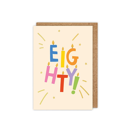 GOLD FOILED 'EIGHTY!' letter candles