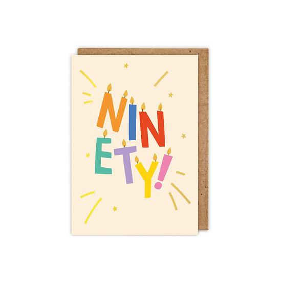 GOLD FOILED 'NINETY!' letter candles