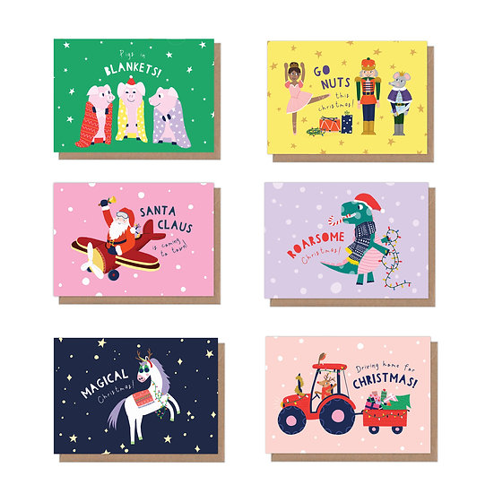 6 Pack, character Christmas puns, A6 Christmas Cards