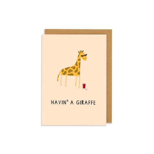 6 pack-  Havin' a Giraffe Greetings Card