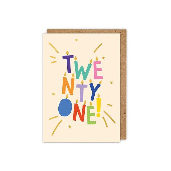 GOLD FOILED 'TWENTY ONE!' letter candles