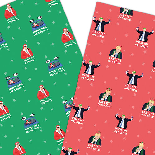 2 Pack COVID Celebrity/Politician Christmas Wrapping Sheets 70x50cm