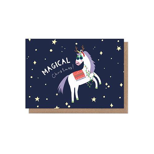 6 pack- Magical Christmas Unicorn Christmas Card
