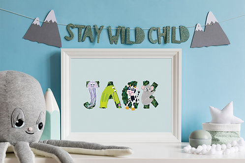 Personalised Animal Name Childrens Print A4/A3