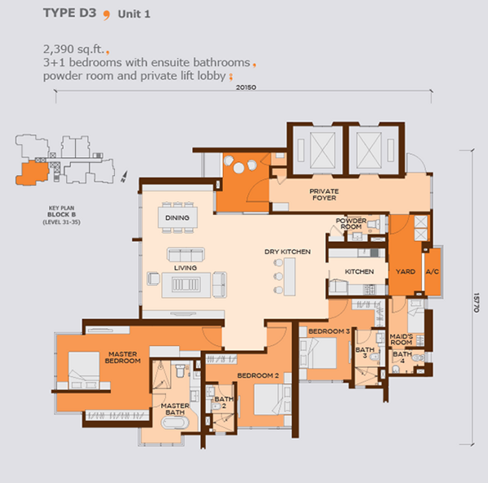Wangsa9 largest unit type D3, 3+1 bedrooms