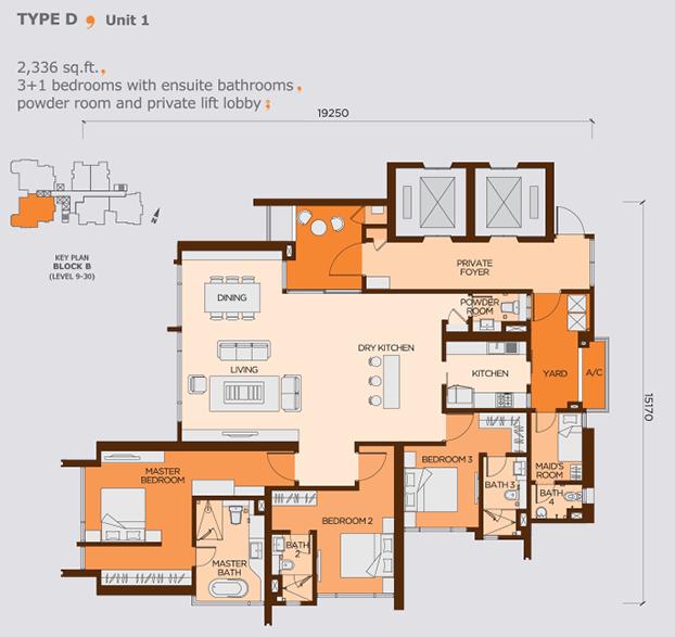 Wangsa9 largest unit type D, 3+1 bedrooms