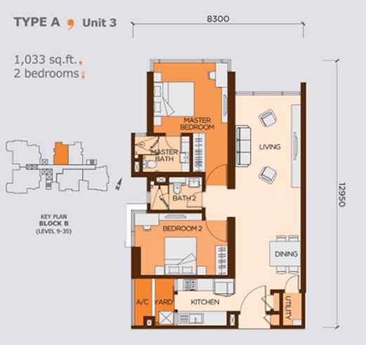 Wangsa 9 unit Type A, 2bedrooms