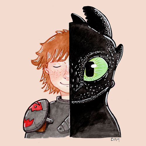 Hiccup/Toothless Print
