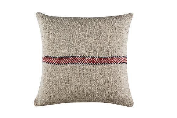 Stripey Joe Cushion- Red/Charcoal