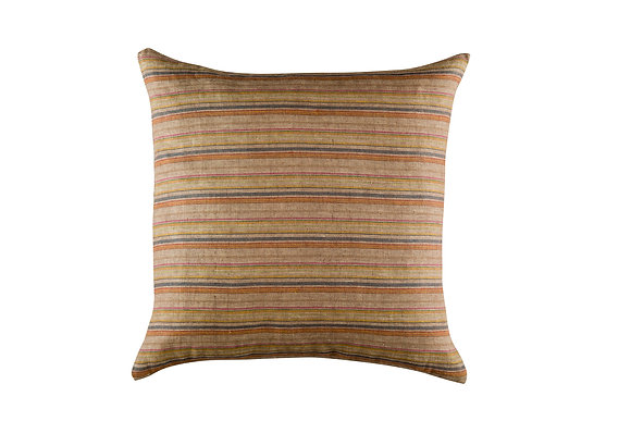 Fine Stripe Cushion- Orange Multi