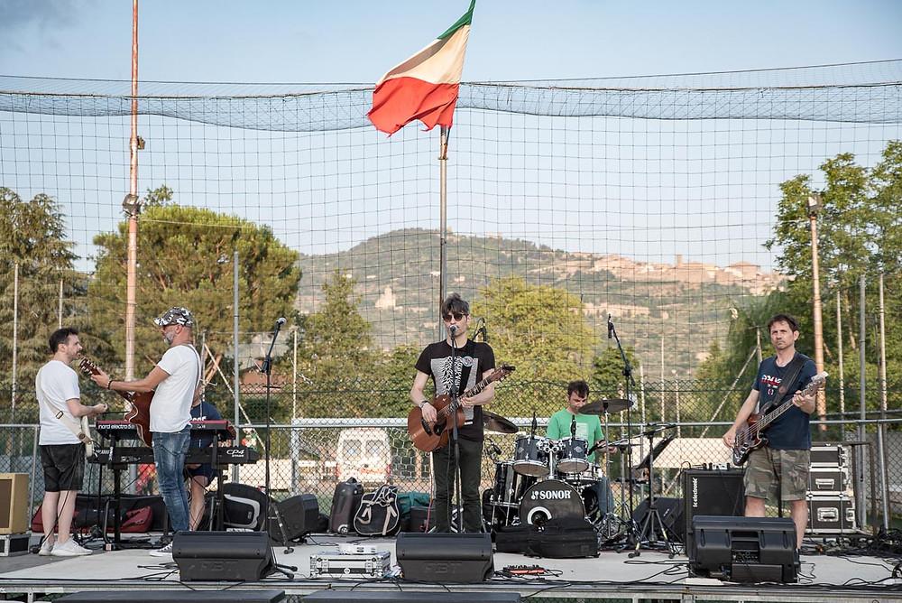 La band durante il sound check a Tavarnelle di Cortona