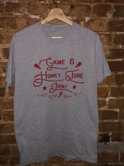 grey vintage script logo t