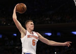 Kristaps Porzingis going for a dunk.