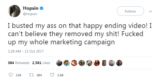 Hopsin's Tweet about his video being removed.