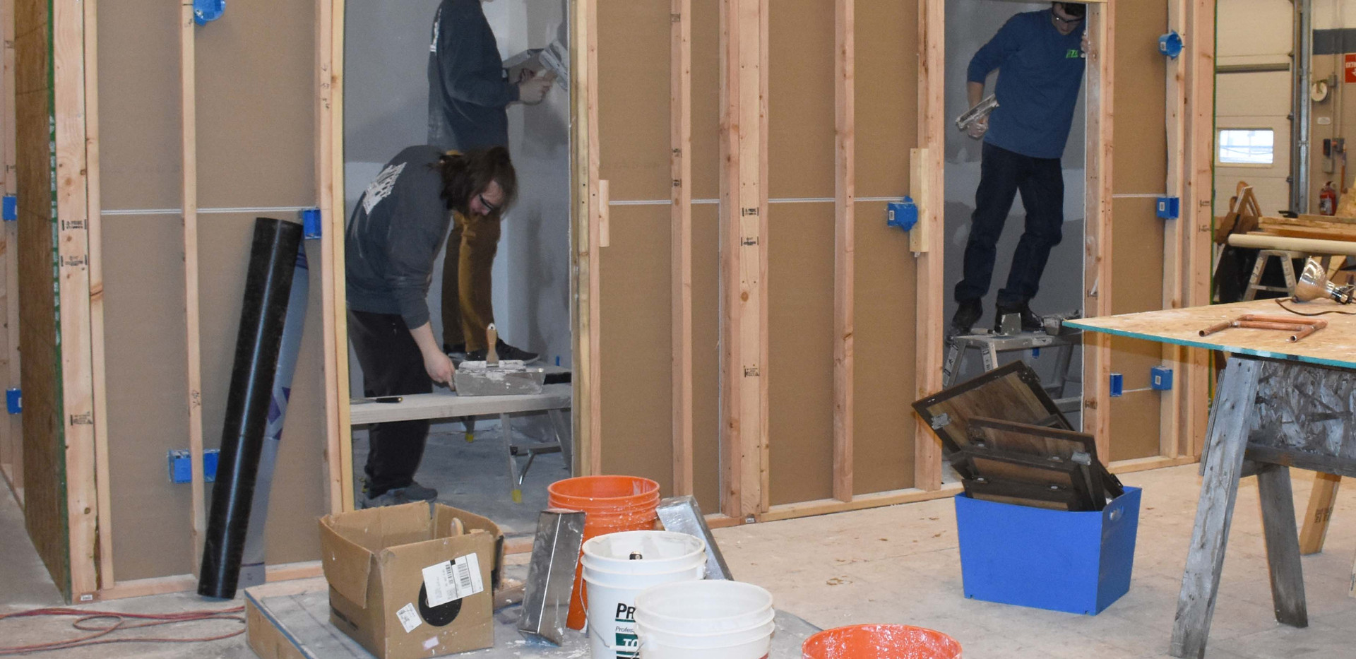 Building Trades Students at work