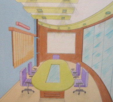 One point perspective Conference room.JP