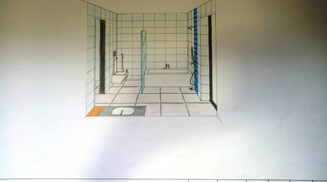 One point perspective Master Bathroom, M