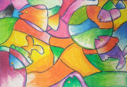 curves line , mural,fish Geometrical shapes