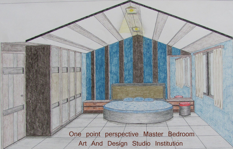 One point perspective Master Bedroom (2)