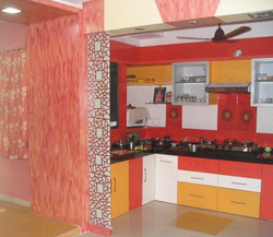 Open Kitchen Concepts With red flowers.J