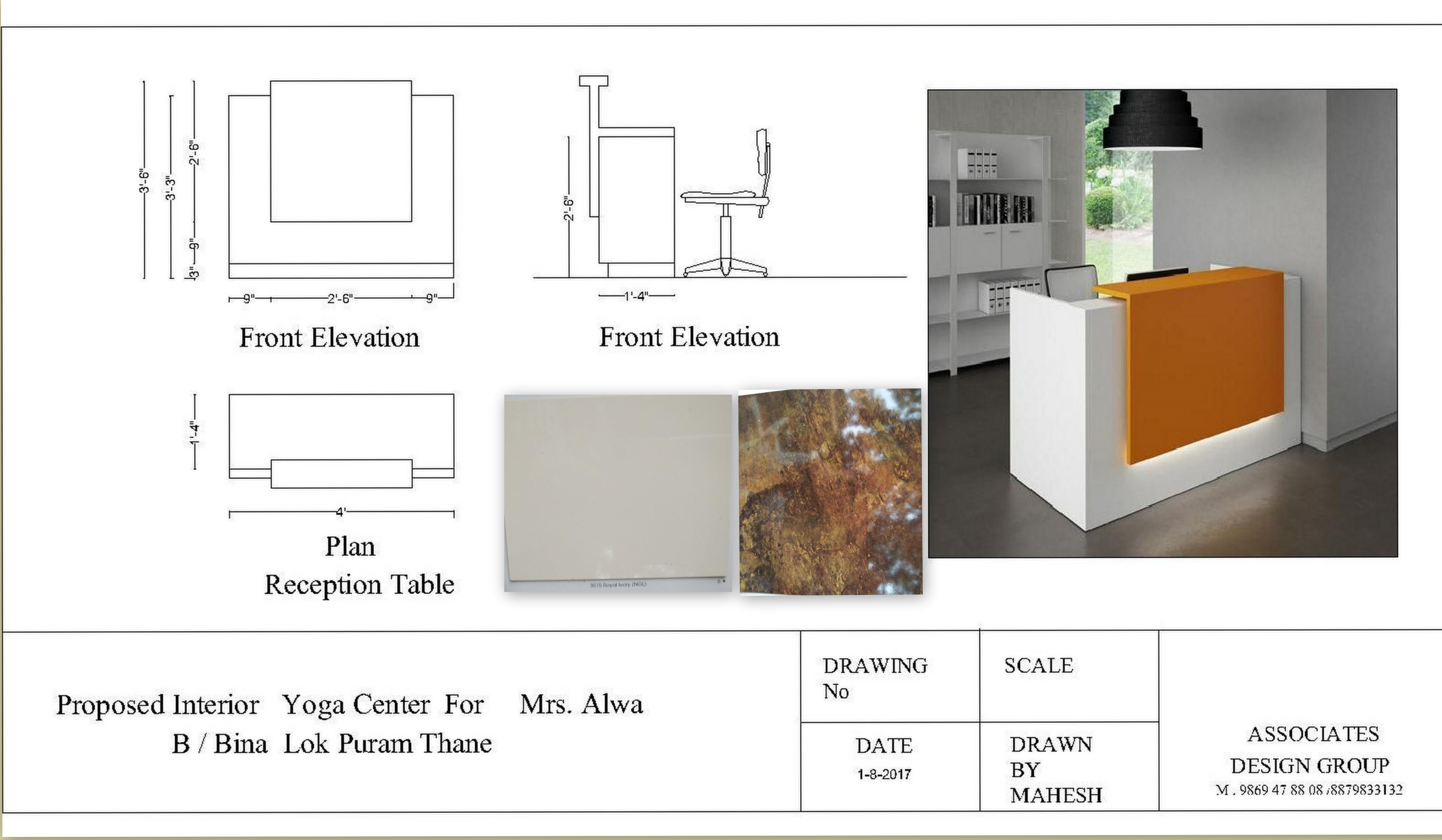 Reception Table for Yoga Center Tapovan.