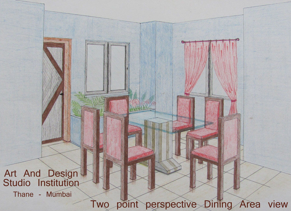 Two point perspective Dining Area view.j