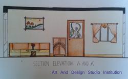 Living Room  Elevation 3, student work