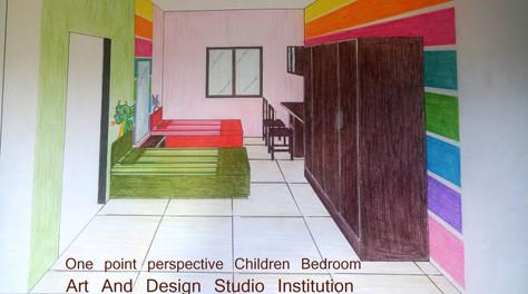 One point perspective Children  Bedroom.