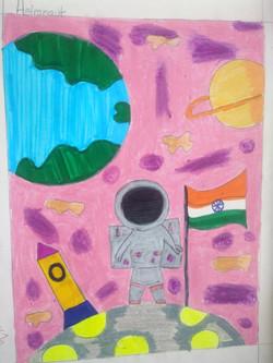 Astronaut, Rutvi Chopde Kid Drawing Work