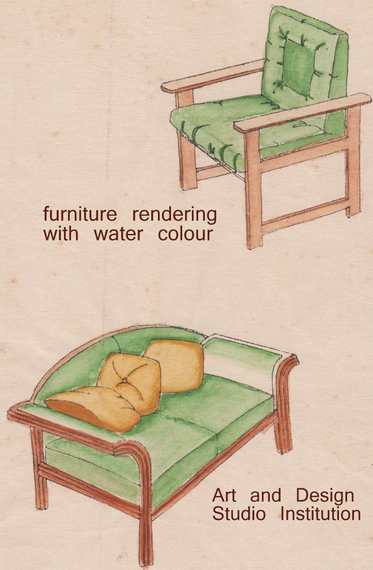 furniture rendering with water colour, A