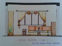 Living Room  Elevation 1, student work