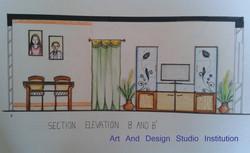Living Room  Elevation 2, student work