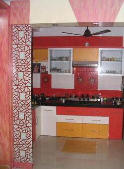 Red Colour Kitchen Modern Design , Luxur