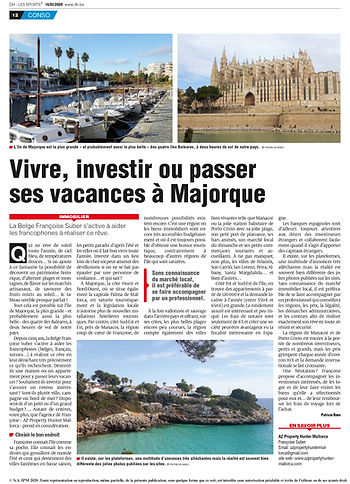 Article sur AZ Property Hunter Malloca dans le journal Belge La DH.
