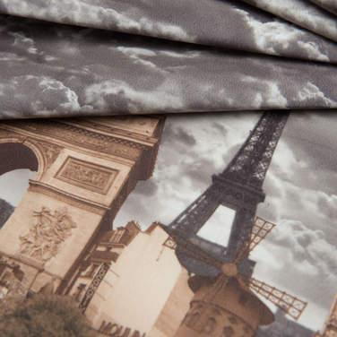 Принт на велюре Париж