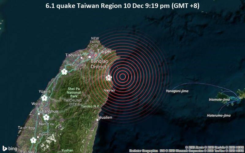 Starkes Erdbeben der Stärke 6.1 - Taiwan Region, am Donnerstag, 10. Dez 2020 um 21:19 Lokalzeit