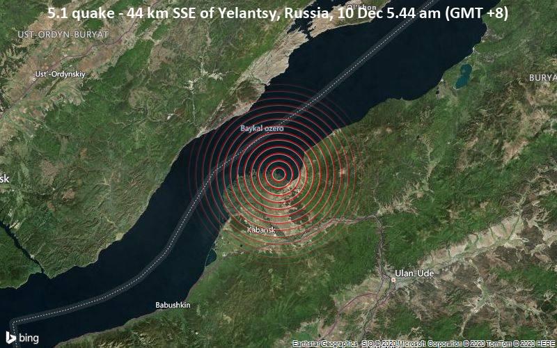 Moderates Erdbeben 44 km SSE of Yelantsy, Russia, am Donnerstag, 10. Dez 2020 um 05:44 Lokalzeit