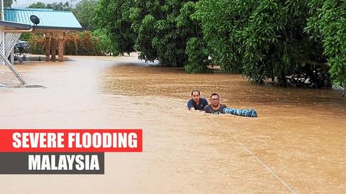 Schwere Überschwemmungen treffen Kota Belud, Sabah, Malaysia