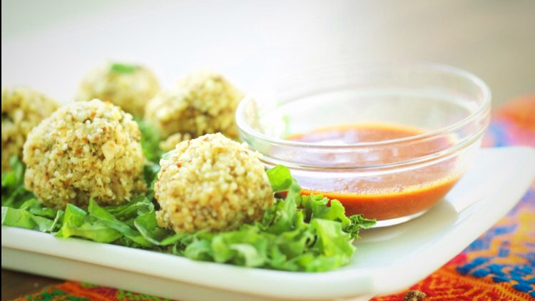 ALMOND CRUSTED MILLET BALLS WITH ANCHO SAUCE